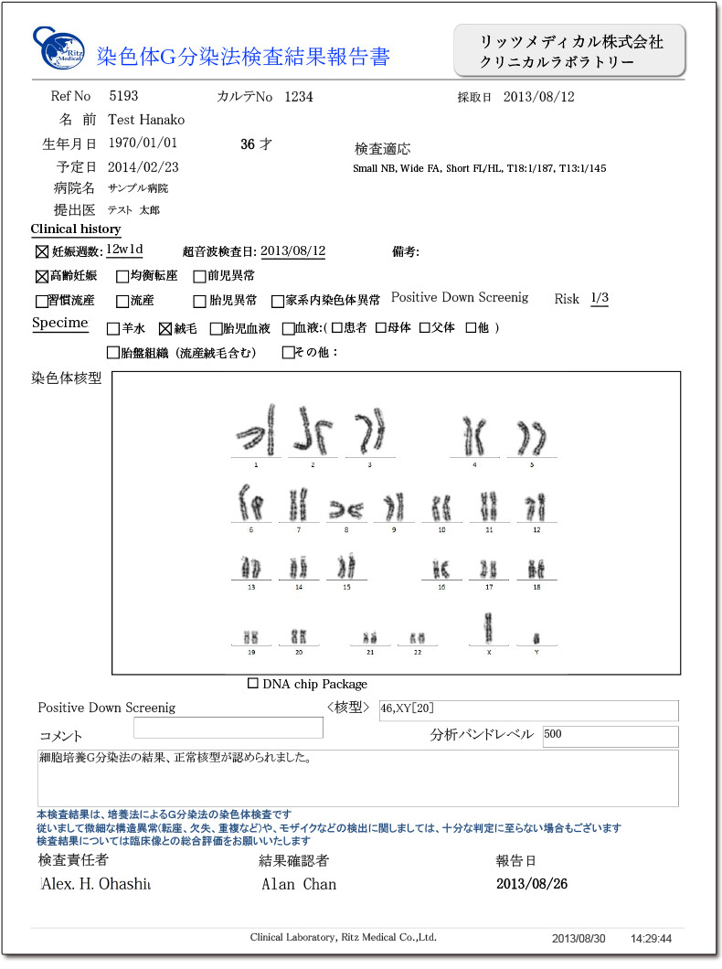Karyotype報告書サンプル